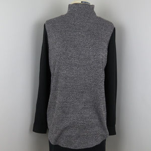 LOFT | Gray and Black Mixed Media Blouse NWT (A4)
